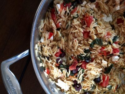 Orzo with Tomatoes, Basil Feta and Calamata Olives