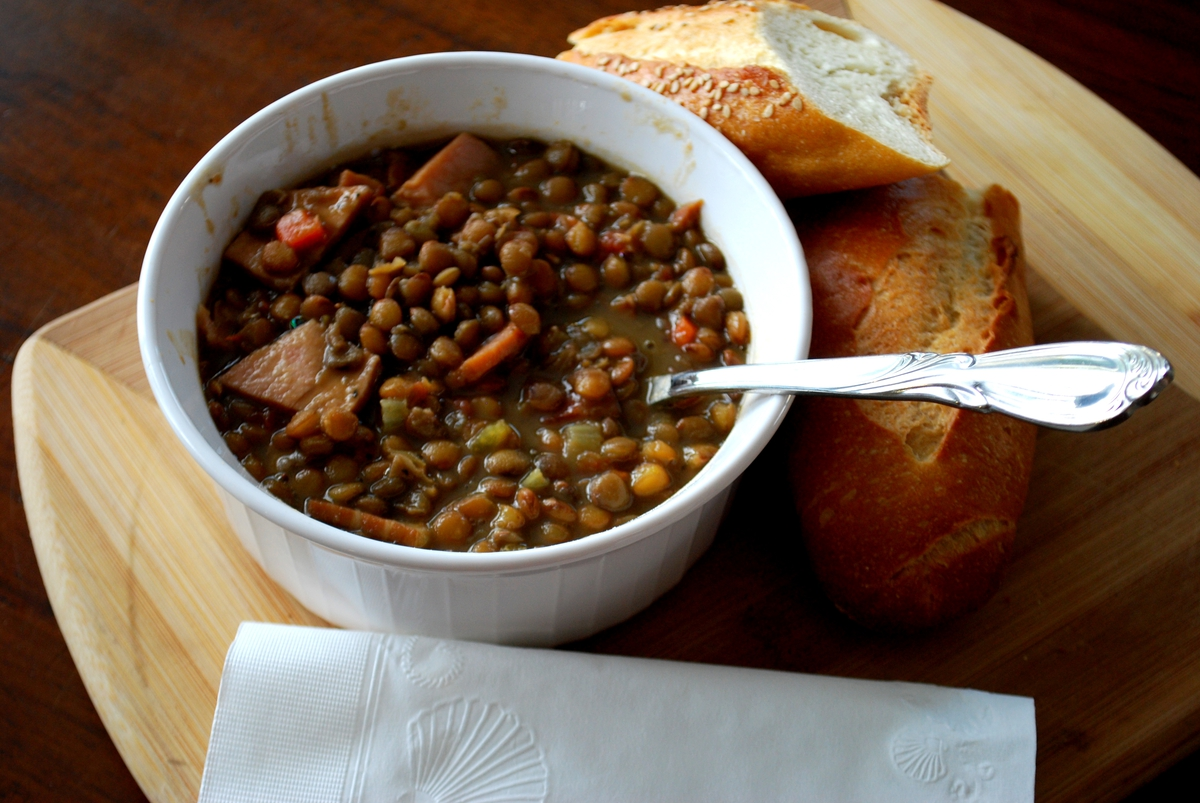 Spicy Ham and Lentil Soup recipe