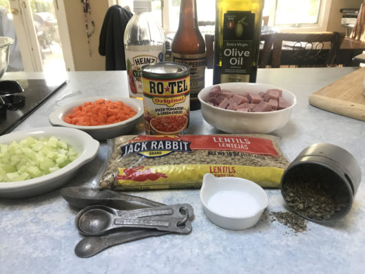 ingredients for spicy ham and lentil soup