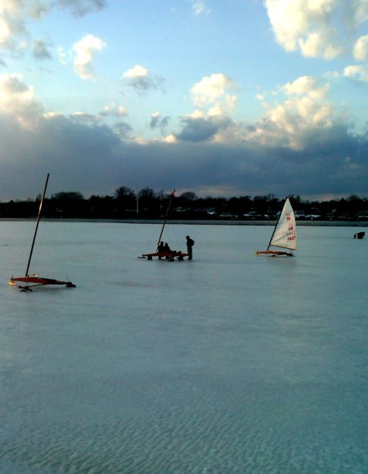 ice boating, navesink river, red bank, new jersey
