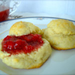 Strawberry jam on biscuit