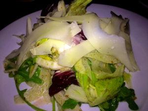 mixed greens salad, lemon-fennel vinaigrette, Zeppoli, Collingswood farmer's market