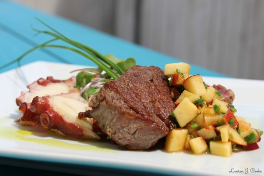 Filet mignon and octopus with local peach salsa and microgreens salad