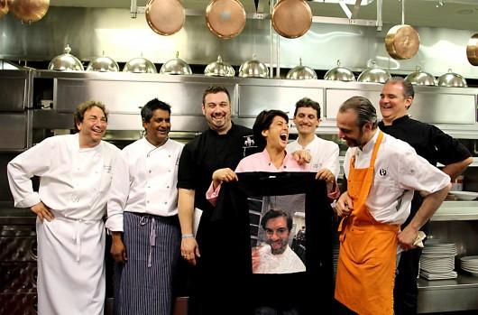 The Gala Chefs! Left to Right: Mitchell Altholz, Floyd Cardoz, Michael Carrino, Ariane Duarte (holding shirt of Ryan DePersio), Mario Russo, Francesco Palmieri