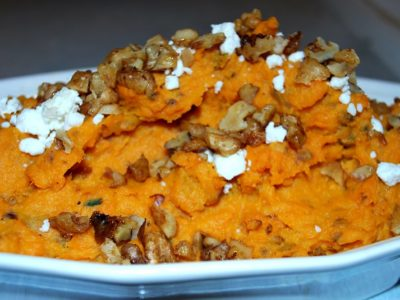 recipe: sweet potato with caremalized onions and goat cheese