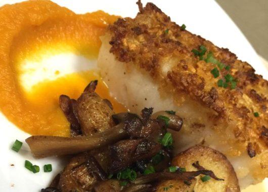 Potato-crusted sea bass, miso butternut squash puree, mushrooms, fingerlings, sherry.