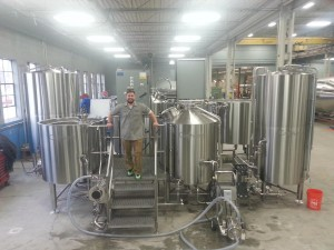 Brian Kulbacki in the brew house at Departed Soles Brewing in Jersey City, NJ.