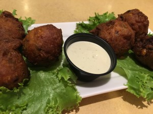 Jalapeno Corn Fritters w:avocado ranch dressing