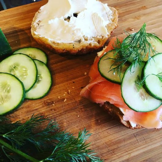 Gluten-free bagel with cream cheese and lox at Plum Bakery, Montclair, Jersey Bites