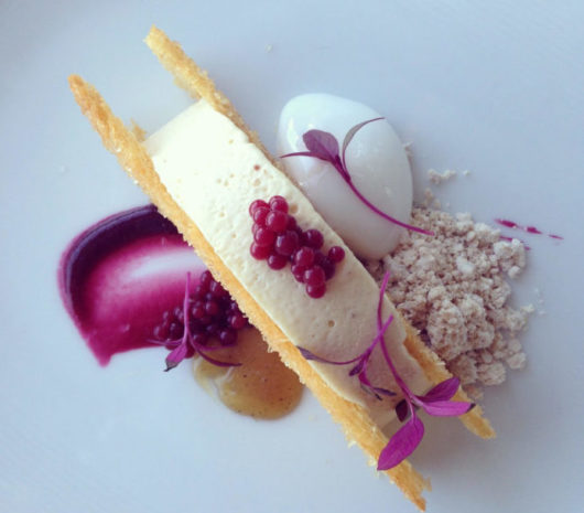 Peanut butter semifreddo, Concord grape gelee and pearls, Moscato foam, caramel, and toasted brioche slices to complete the 'sandwich'