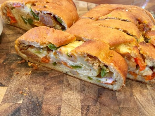 Sausage, pepper and mozzarella stuffed breads at Plum Bakery, Jersey Bites