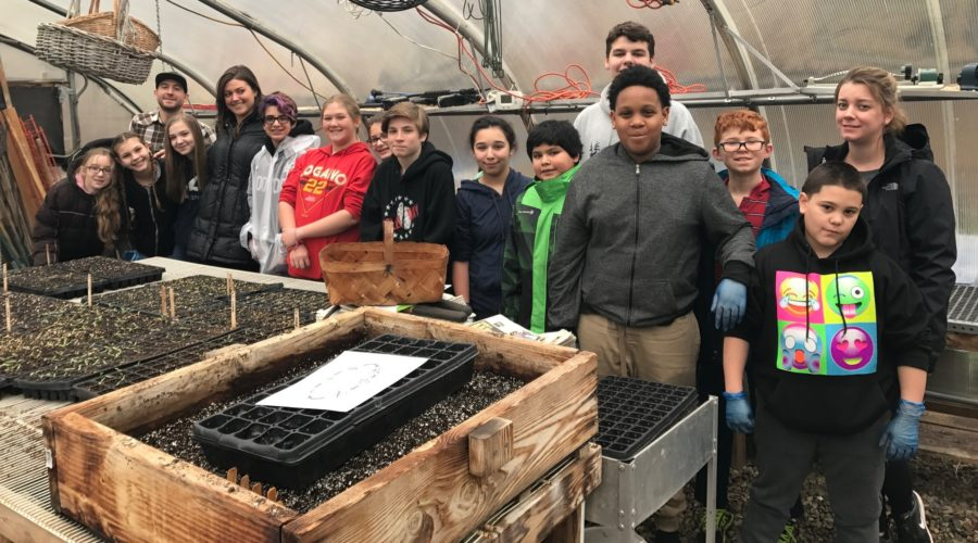 Hazlet school volunteers in the garden
