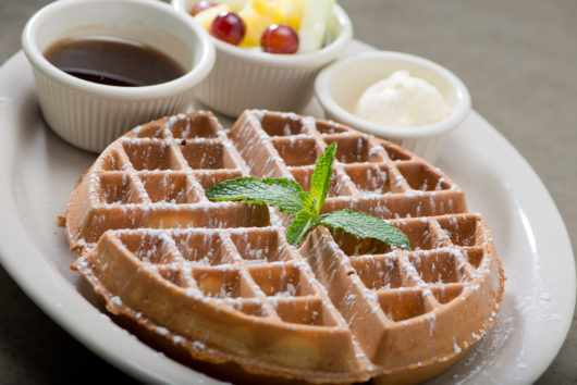 Turning Points Plain Belgian Waffle Sprinkled with powdered sugar