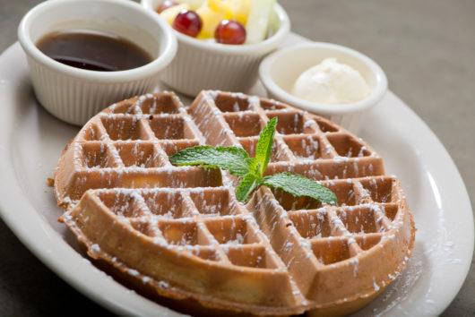 Turning Points Plain Belgian Waffle Sprinkled with powdered sugar