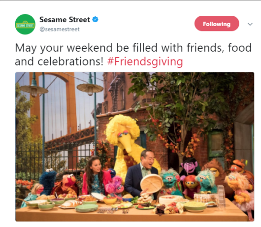 Sesame Street Tweet for Friendsgiving