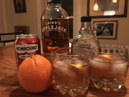 Fall cocktail with Lairds Applejack and Ironbound Cider