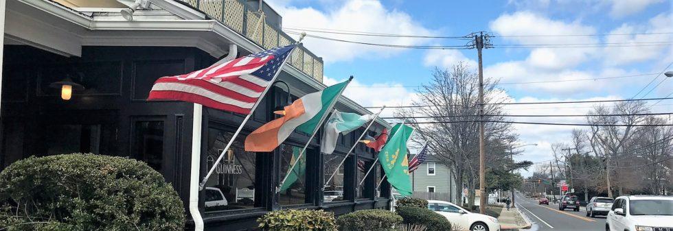 flags outside St. Stephen's Green