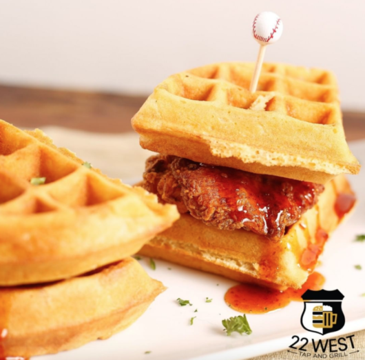 Chicken and Waffles from 22 West Tap and Grill, Julia Mullaney, chicken and waffles, International Waffle Day, Jersey Bites