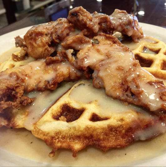 Chicken and Waffles from Cyndia's Totowa, Julia Mullaney, chicken and waffles, International Waffle Day, Jersey Bites
