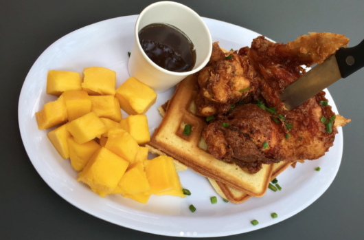 chicken and waffles from Griot Cafe, Julia Mullaney, chicken and waffles, International Waffle Day, Jersey Bites