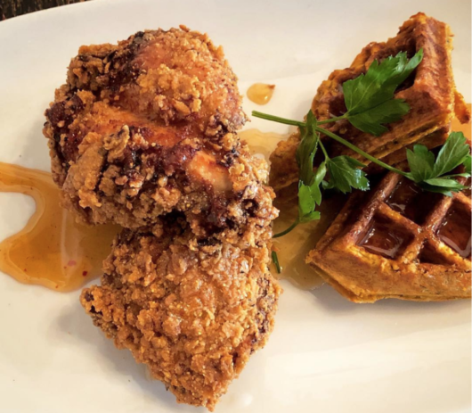Chicken and Waffles from South + Pine, Julia Mullaney, chicken and waffles, International Waffle Day, Jersey Bites