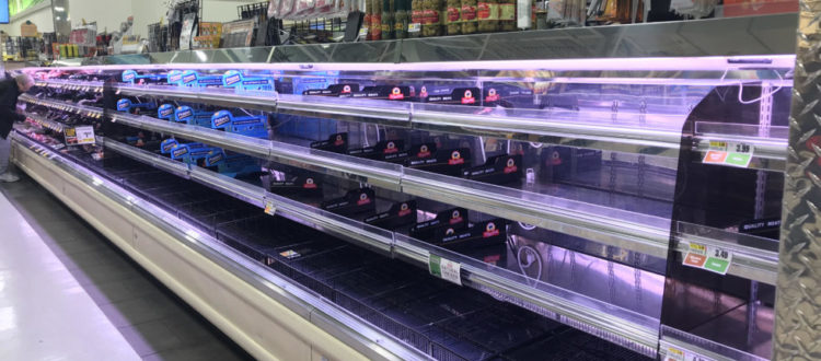 empty shelves at the grocery store