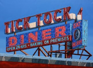 Painting of iconic Tick Tock Diner sign by Mark Oberndorf