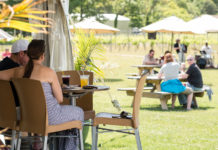 people sitting outside at a New Jersey winery