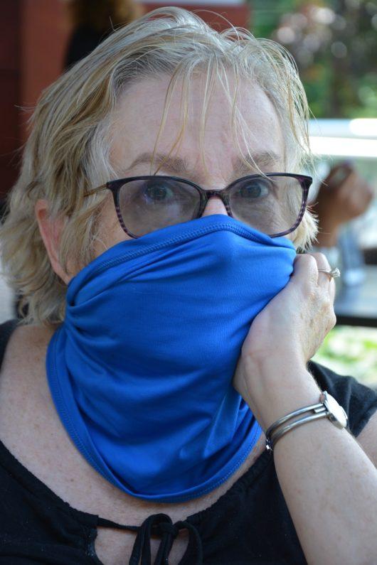 Patron wearing Face mask