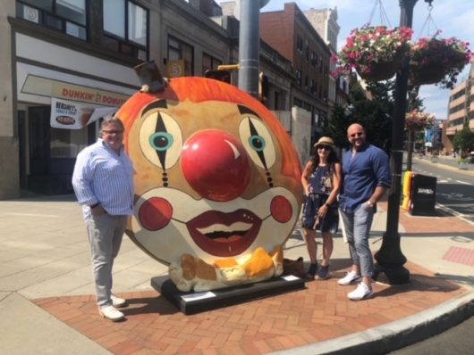 Chef David Burke in front of clown