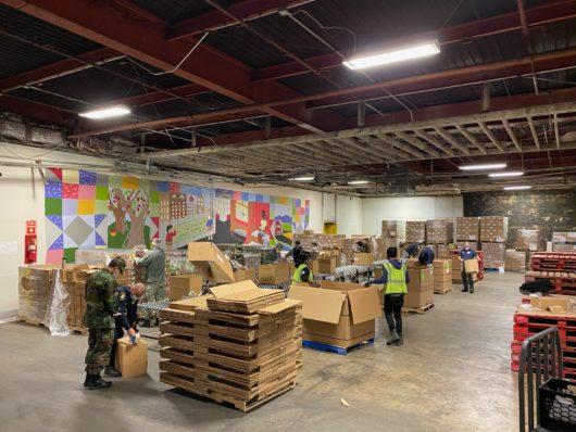 Community Foodbank of New Jersey volunteers in packing room