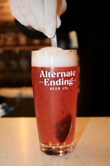 Alternate Ending beer glass