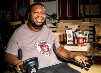 Eric LeGrand with LeGrand Coffee House tshirt and products