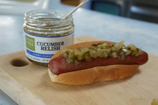 Fourth Creek Cucumber Relish on a Hot Dog