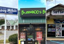 three restaurant exterior shots