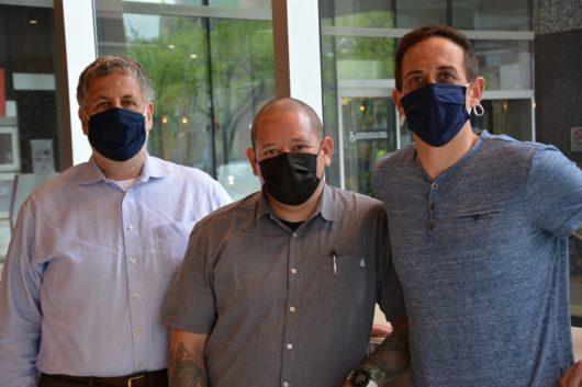 Masked men (l to r): Joe Scutellaro, Quirino Silva, Joe Scutellaro