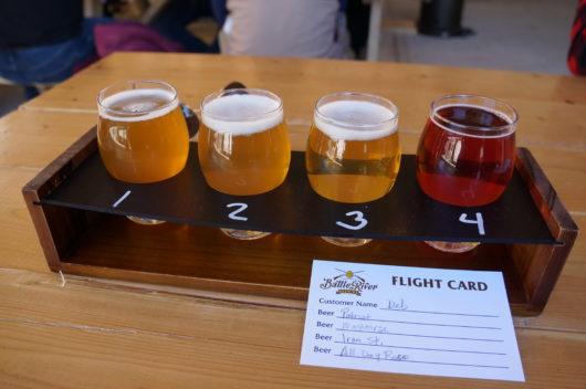 Craft beer flight Battle River Brewing