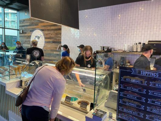 customer selecting ice cream flavor