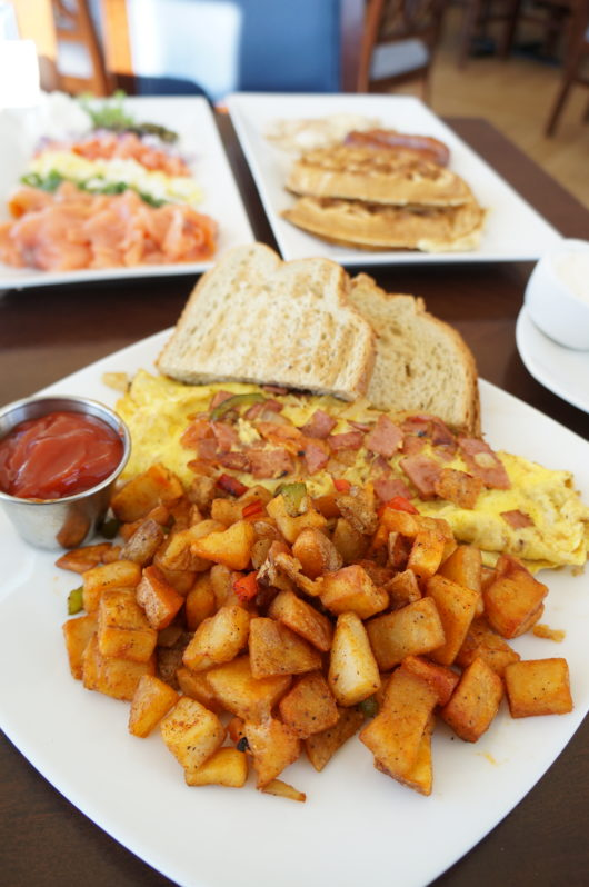 Pork Roll and Cheese Omelet with side of potatoes
