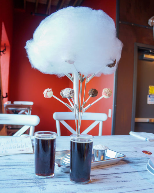 Nut Haus Porter with cheesecake pops, cotton candy and bubble gum whipped cream.