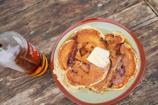 Maple Pecan Pancakes drizzled with an Asbury Park Bourbon laced syrup