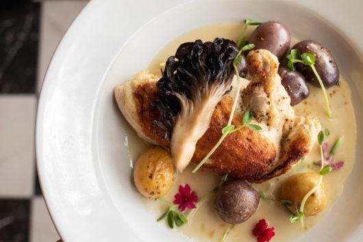 Goffle Farm Chicken - Maitake Mushroom, Pea Sprouts, Baby Potatoes, Sauce Supreme