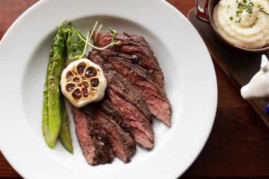 Hanger Steak - Potato Puree, Asparagus, Roasted Garlic, Demi Glace