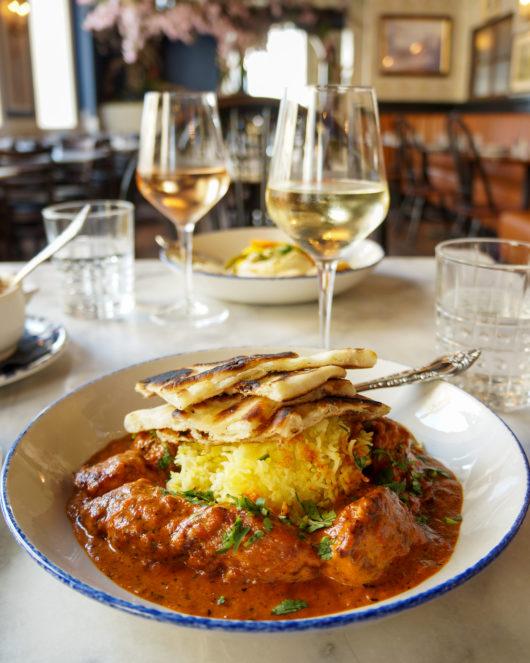 Chicken Tikka Masala and wine