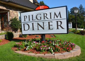 Pilgrim Diner Sign with a Pilgrim Hat